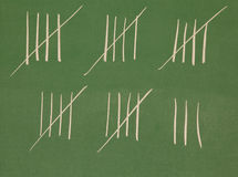 Counting. The days,stripes on a blackboard Stock Image