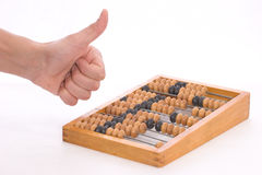 Counting by abacus. It's good to use counting frame Royalty Free Stock Photography
