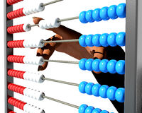 Counting on abacus. Woman manipulating a colorful abacus Stock Images