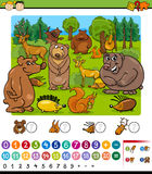 Counting animals cartoon game Stock Photography