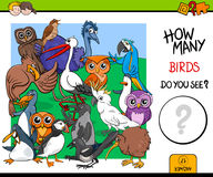 Counting birds educational game for kids Stock Photography