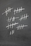 Counting on a blackboard. With five bar gates Stock Photos