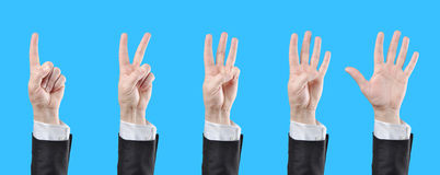 Counting businessman hands Royalty Free Stock Photo