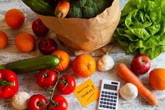 Counting calories. Diet of  vegetables and fruits Stock Image