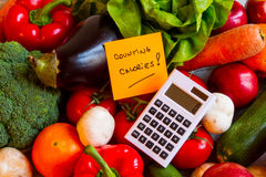 Counting calories. Diet of  vegetables and fruits background Stock Photos