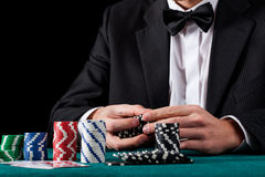 Counting casino chips Royalty Free Stock Photo
