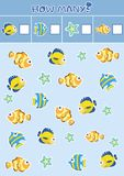 Counting children`s educational games, children`s sheet. How many objects task, marine life, sea theme. Vector illustration stock illustration