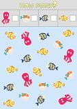 Counting children`s educational games, children`s sheet. How many objects task, marine life, sea theme. Vector illustration royalty free illustration