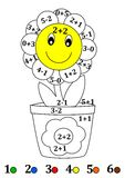 Counting with colors for children - a flower pot, flower Stock Photo