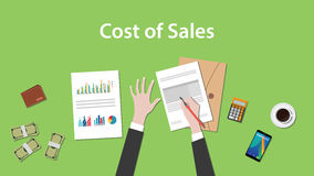 Counting cost of sales on a paperworks with calculator, money and coffee on top of table Stock Images