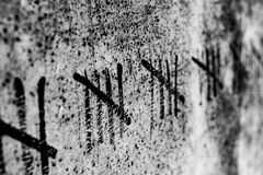 Counting the Days. Lines drawn on a wall Stock Image