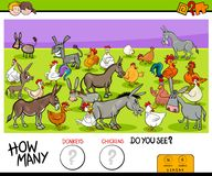 Counting donkeys and chickens educational game. Cartoon Illustration of Educational Counting Game for Children with Donkeys and Chickens Farm Animals Characters Royalty Free Stock Images