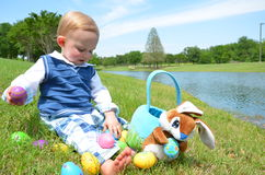 Counting Easter Eggs Royalty Free Stock Photo