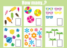 Counting educational children game. How many objects task Royalty Free Stock Photo