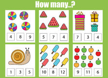 Counting educational children game. How many objects task Stock Photos