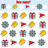 Counting educational children game, kids activity. How many objects task. Christmas, new year winter holidays theme. Counting educational children game, kids Stock Images