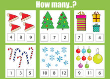 Counting educational children game, kids activity. How many objects task, christmas theme Stock Images