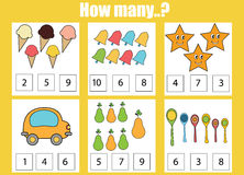 Counting educational children game, kids activity. How many objects task. Counting educational children game, kids activity sheet. How many objects task stock image