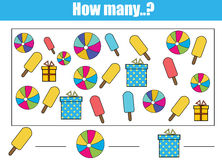 Counting educational children game, kids activity. How many objects task. Counting educational children game, kids activity sheet. How many objects task Stock Photos