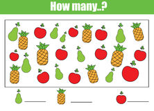 Counting educational children game, kids activity. How many objects task. Counting educational children game, kids activity sheet. How many objects task Stock Images