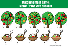 Counting educational children game, kids activity. Mathematics counting matching game royalty free illustration