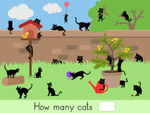 Counting educational children game, kids activity sheet. How many cats Royalty Free Stock Images