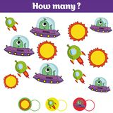 Counting educational children game, kids activity sheet. How many objects task. Learning mathematics, numbers, addition theme cosm. Os stock illustration