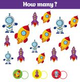 Counting educational children game, kids activity sheet. How many objects task. Learning mathematics, numbers, addition theme cosm Stock Photography