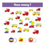 Counting educational children game, kids activity sheet. How many objects task. Learning mathematics, numbers, addition theme. Counting educational children game royalty free illustration