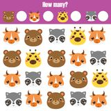 Counting educational children game, kids activity worksheet. How many objects. Learning mathematics. Numbers, addition. Animals theme vector illustration