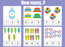 Counting educational children game, kids activity worksheet. How many objects. Learning mathematics Stock Photo