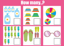 Counting educational children game, kids activity worksheet. How many objects. Learning mathematics Royalty Free Stock Photography