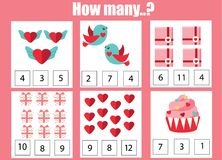 Counting educational children game, kids activity worksheet. How many objects. Learning mathematics. St Valentine s day theme. Counting educational children game royalty free illustration