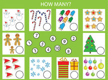 Counting educational children game, kids activity worksheet. How many objects task, christmas theme