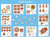 Counting educational children game, kids activity worksheet. How many objects task. christmas, winter holidays theme Stock Image
