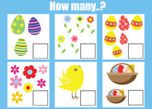 Counting educational children game, kids activity worksheet. How many objects task. Easter theme. Learning mathematics, numbers, addition theme vector illustration