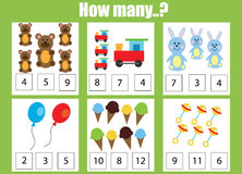 Counting educational children game, kids activity worksheet. How many objects task. Learning mathematics, numbers, addition theme Stock Photography