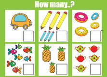 Counting educational children game, kids activity worksheet. How many objects task. Learning mathematics, numbers, addition theme stock illustration