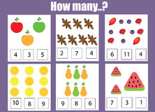 Counting educational children game, kids activity worksheet. How many objects task. Learning mathematics, numbers, addition theme vector illustration