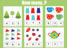 Counting educational children game, kids activity worksheet. How many objects task. Learning mathematics, numbers, addition theme Stock Photo