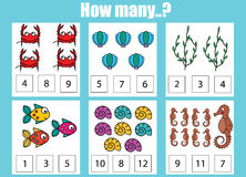 Counting educational children game, kids activity worksheet. How many objects task Royalty Free Stock Photography