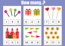 Counting educational children game, kids activity worksheet. How many objects task Royalty Free Stock Photo