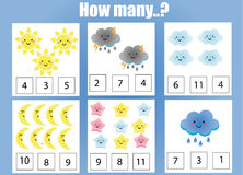 Counting educational children game, kids activity worksheet. How many objects task. Learning mathematics, numbers, addition theme royalty free illustration