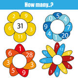 Counting educational children game, kids activity worksheet. How many objects task. Mathematics for toddlers royalty free illustration