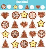 Counting educational children game, math kids activity. How many objects task. Christmas, winter holidays theme. Counting educational children game, math kids Royalty Free Stock Photo