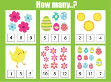 Counting educational children game, math kids activity. How many objects task. Easter theme. Addition worksheet. Easter game. Counting educational children game royalty free illustration