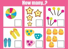 Counting educational children game, math kids activity. How many objects task. Counting educational children game, math kids activity sheet. How many objects royalty free illustration