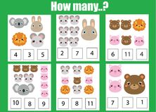 Counting educational children game, math kids activity. How many objects task. Animals theme Royalty Free Stock Photos