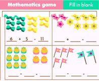 Counting educational children game, math kids activity. How many objects. Complete equations worksheet, fill blank. Counting educational children game Royalty Free Stock Image
