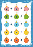 Counting Educational Game for Children. Addition worksheet. Counting Game for Preschool Children. Educational a mathematical game. Count the numbers in the Royalty Free Stock Photos